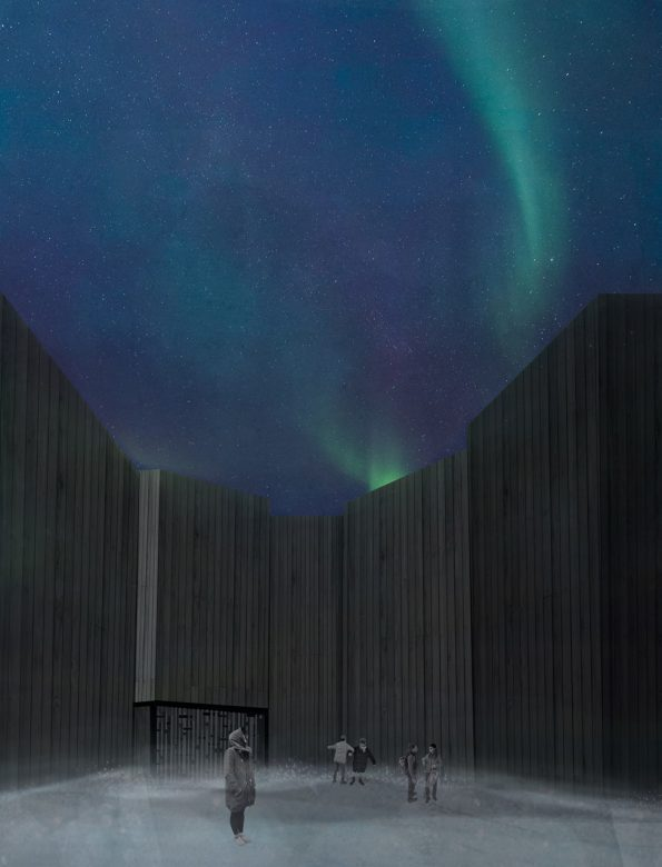 """""""A place to view the sky in the city center of Longyearbyen""""."""