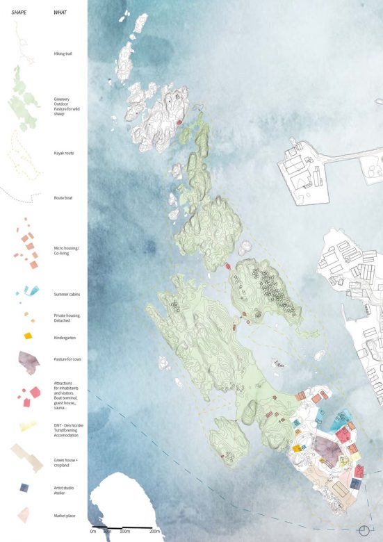 Ecosystem map for the future at Vibrandsøy, showing the new use - new living and working place - on the island