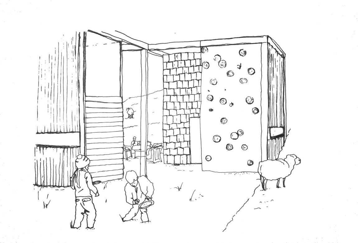 Illustration showing the spaces in between the modules/micro houses in the landscape. Also showing the materials used as facades - supporting circular economy