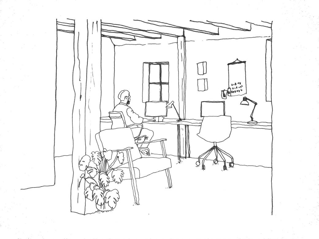 Illustration showing the space in between the modules/micro houses inside one of the existing boat houses - creating office spaces for entrepreneurial activities.