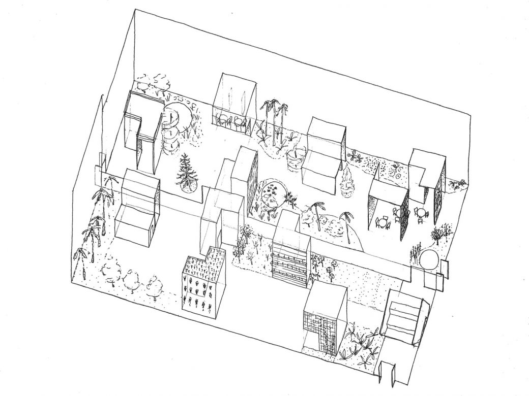 Illustration showing how the modules create new spaces in between and open up for new activities inside the open space of the greenhouse