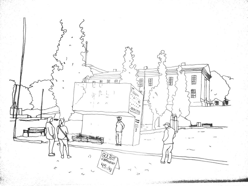Illustration showing an adapter placed at the town square in front of the city hall, acting as a transparent stall, showroom and information board for activities happening at Vibrandsøy