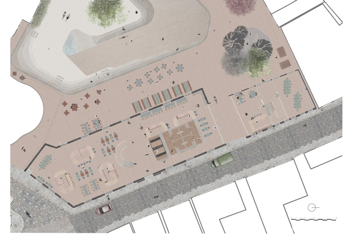 1:100 plan of the ground floor of the food court