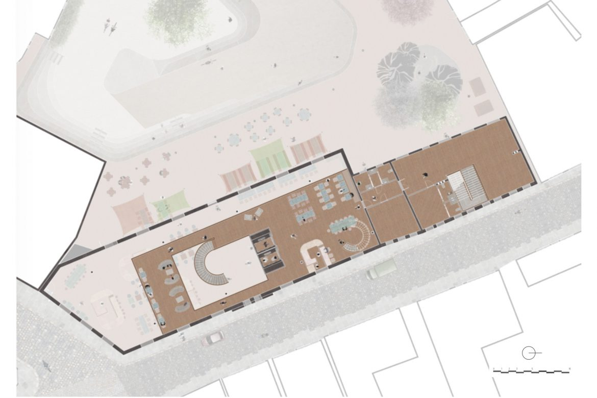 1:100 plan of the first floor of the food court