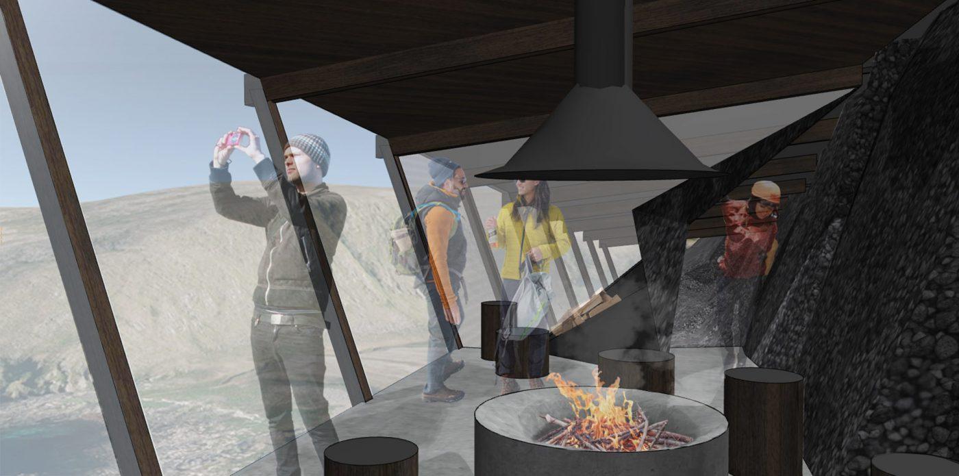 Inside the hiker shelter at Knivskjelodden