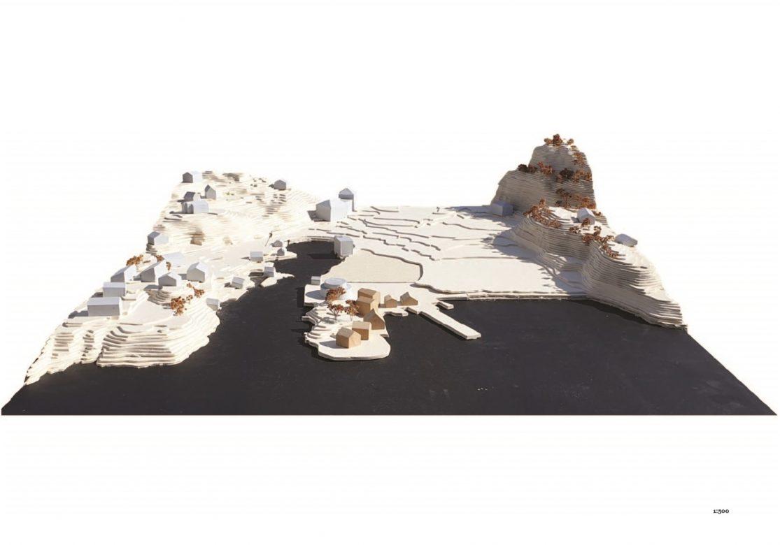 1:500 landscape site model, showing village concept (process).