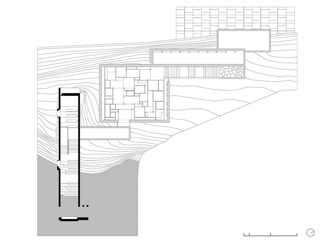 Building plan from the park entrance level