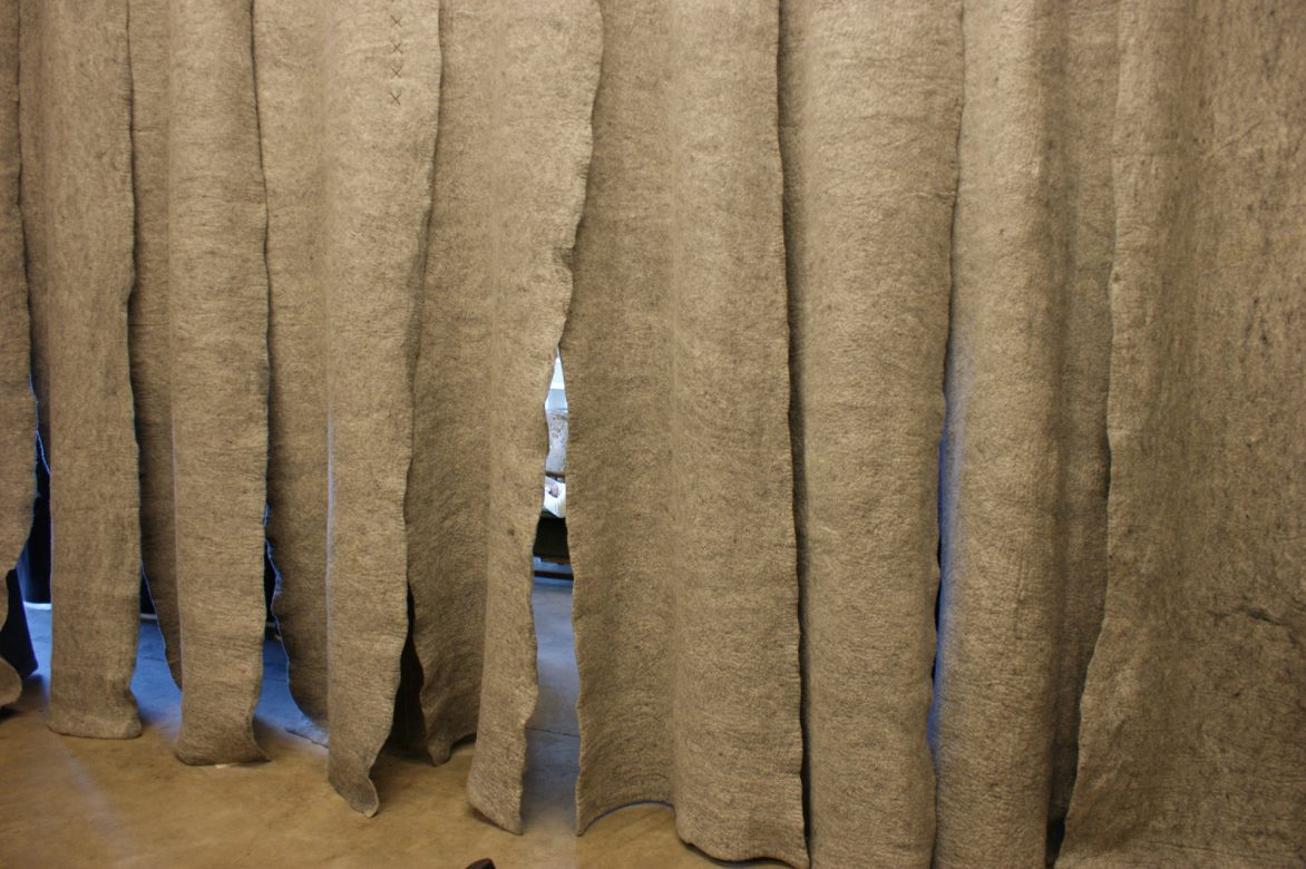 The curtain between the cantina and large lecture room