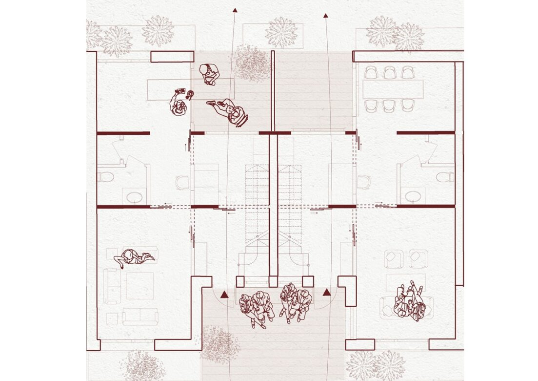 A plan of 2 apartments with shared area in between