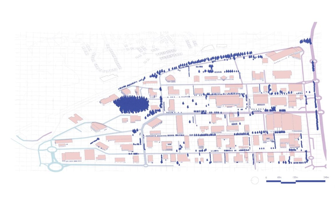 Axonometric view of the Forus area before the transformation