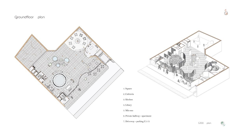 Ground floor plan + Program perspective