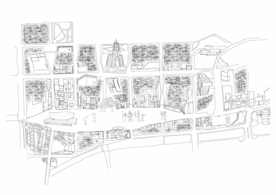 Analysis map as a summary of participation work; detailing the inhabitants perception of this part of Sandnes city center.